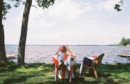 Reading by the lake in canada