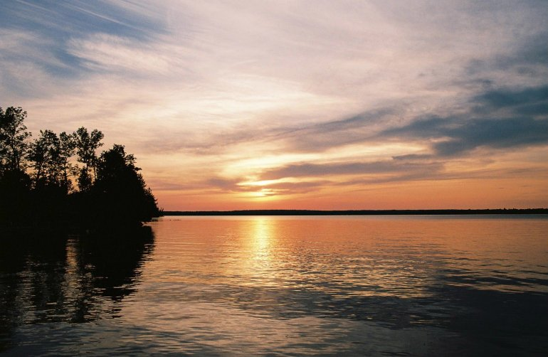 Sunset over canadian lake
