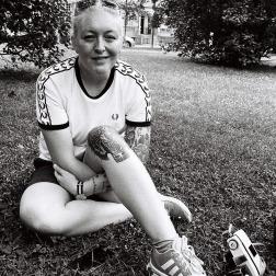 B&W Women sitting on grass
