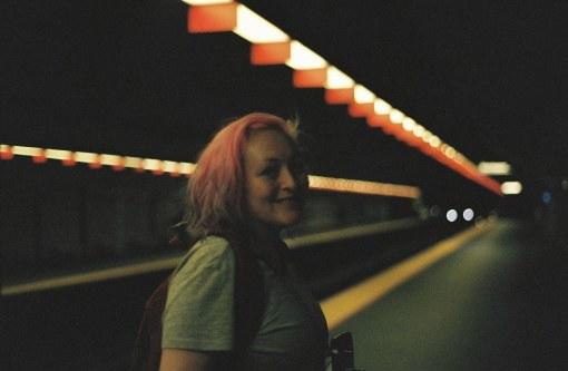 Women in subway tunnel