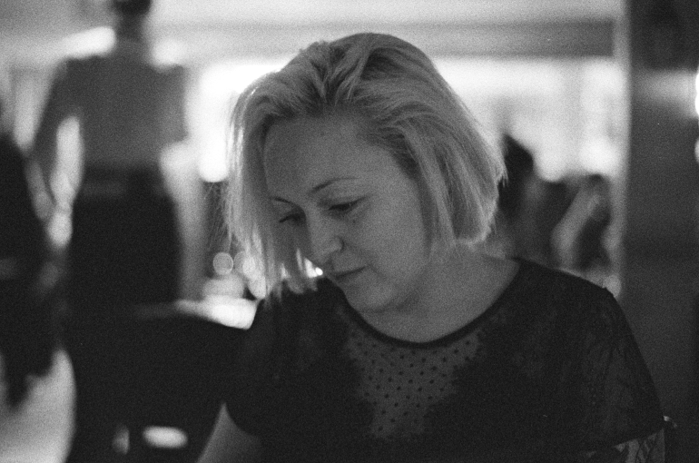 black and white portrait restaurant