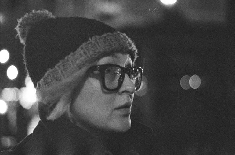 black and white nightime portrait