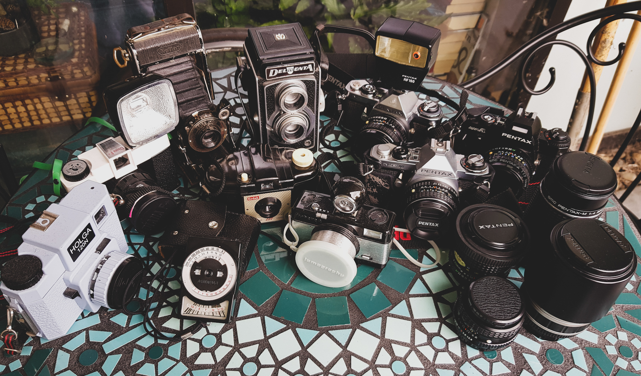 A collection of film cameras