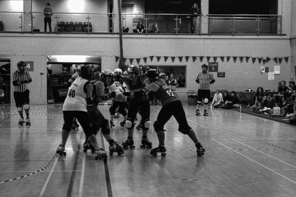 Bout Against Cancer, HP5 at 6400iso, Black & White Photo, Roller Derby on film