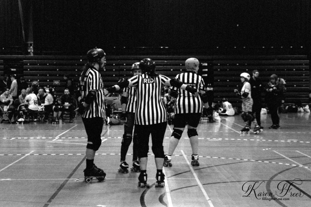 Roller Derby Referees B&W Kodak TMAX 6400iso